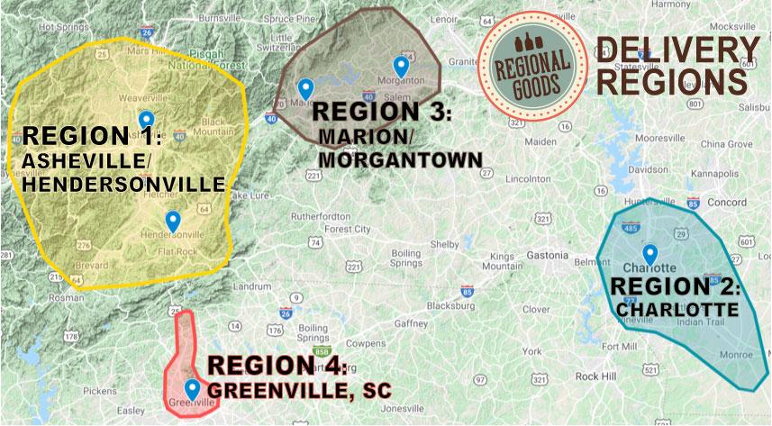 Regional Gods Delivery Zones